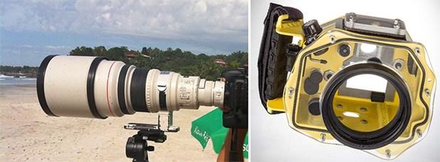 Lente Teleobjetiva 400mm f/2.8 e Caixa Estanque para câmera DSLR.