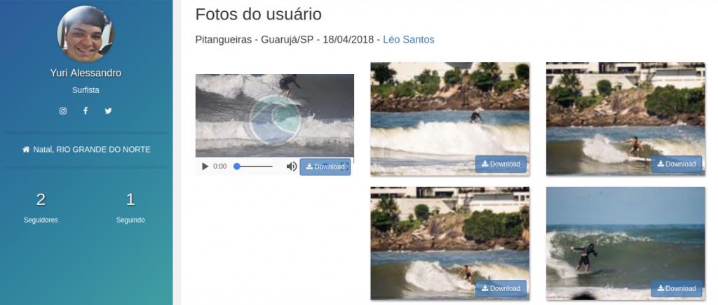 Agrupamento de fotos e vídeos na página de fotos compradas do surfista.