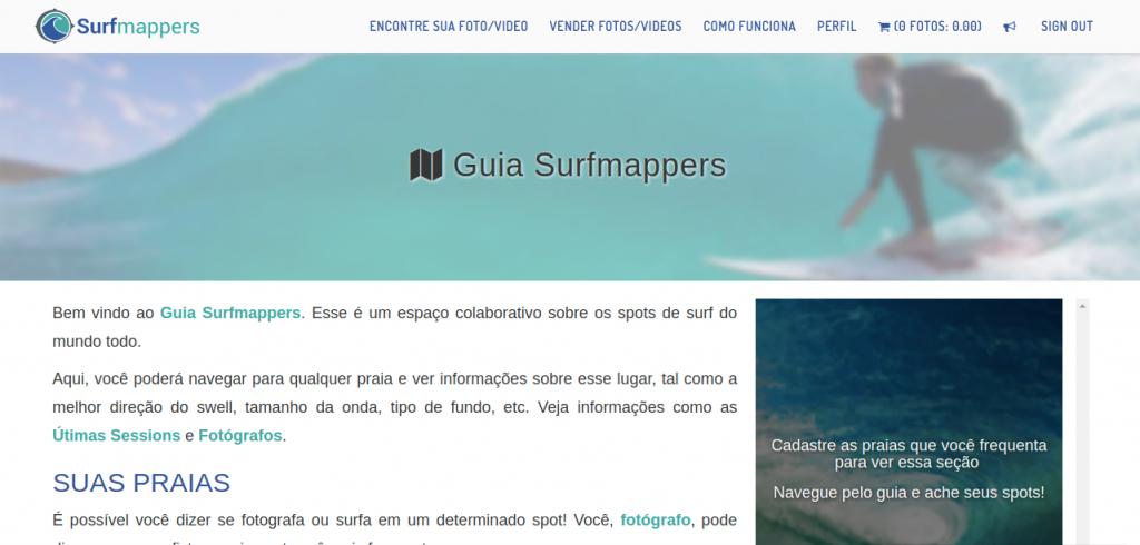Guia Surfmappers, ainda em estágio experimental.
