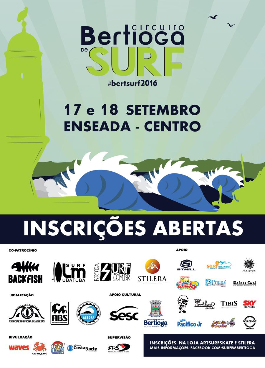 Peça de divulgação do Circuito Bertioga de Surf 2016